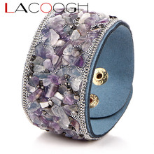 Lacoogh New Pave Gravel Stone  Wristband Bracelet Bangles Handmade Wide Leather Cuff Bracelets For Women Pulseras F6113