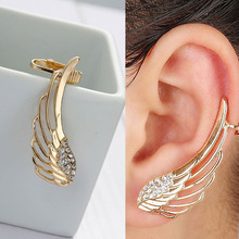 DoreenBeads Ear Cuff Wrap Earrings Clip On Stud For Left Ear Angel Wing gold color Clear Rhinestone 41 x 16mm, 1 PC