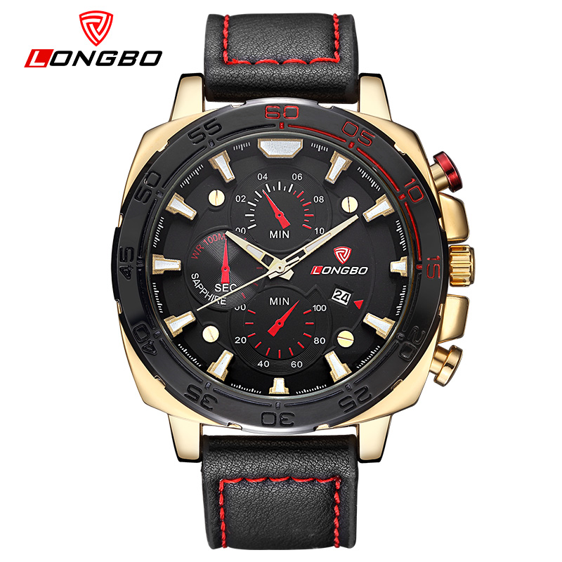 New big dial sport watches for men leather strap military watch male luxury brand wristwatch casual reloj hombre 2016 LB80216<br>