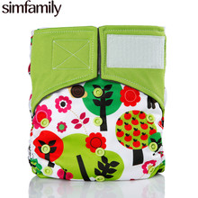 [simfamily]1PC Reusable hook & loop One Size Pocket Cloth Diaper Bamboo Charcoal Baby Nappy simfamily diaper(China)