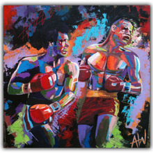 "Abstract Artists Paintings repro by Leroy Neiman ""Rocky vs Apollo"" Sports Movie Poster Hand Painted OIL PAINTING on Silk DY343"