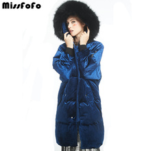 MissFoFo Thick Winter Down Coat Deep Blue New Jacket 2017 Famous Brand -35 Degrees(China)