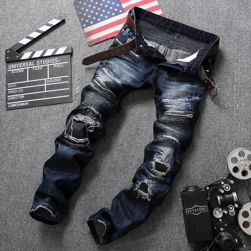 Newsosoo High quality mens jeans Casual ripped biker jeans men hip hop zipper pants Straight jeans for punk hole denim trousersÎäåæäà è àêñåññóàðû<br><br>