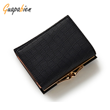 Guapabien Candy small lock ladies wallet card holders leather mini women money wallet coin short female purse Carteira Feminina