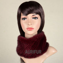 2017 New Womens Real Knitted Mink Muffler Ladies Natural Mink Fur Scarf Winter Solid Neckerchief AU00863