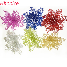 K15337 Wholesale 14cm Plastic Simulation Christmas Glitter Hollow Flower Wedding Artificial flowers Valentine's Day Decoration(China)