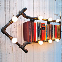 American Industrial Vintage Aisle Water Pipe Wall Lights study reading room Wall Lamp for Home Bookshelf club bar light Decor