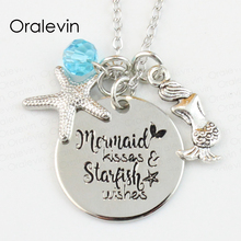 Wholesale MERMAID KISSES AND STARFISH WISHES Engraved Disc Pendant Charms Necklace Lover Gift Jewelry 10Pcs/Lot,#LN117(China)