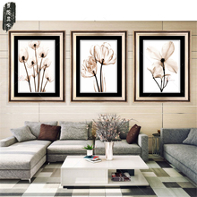 3PCS Modular Picture Art Oil Painting Home Decoration painting Canvas paintings Picture Print Frameless Flower  for Living Room