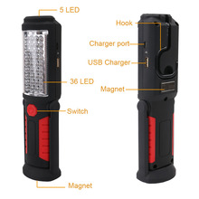 Portable multi-function Working Inspection Light 36+5 LED Flashlight USB Charging Work Light Magnetic+HOOK + USB cable(China)