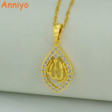 Anniyo Cubic Zirconia Allah Necklaces for Women Islam Muslim Products Jewelry Arab CZ Pendant for Middle Eastern #001419(China)