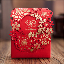 Red Sweet Wedding Candy Box 60pcs Gold Paper Laser Cut Flower Chocolate Gift Boxes as Wedding Favors New Arrival