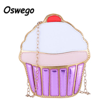 Lovely 3D Cartoon Icecream Cake Mini Women Single Shoulder Bag Metal Chain Casual Crossbody Clutch Bag Phone Key Organizer Pouch