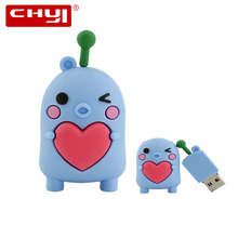 CHYI Creative Cute USB Flash Drive Pen Drive Blue Doll with Love Heart Memory Stick 4GB 8GB 16GB 32GB 64GB Pendrive New Arrival(China)