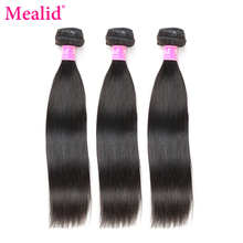 "[Mealid] Peruvian Straight Hair Weave Bundles 1 Piece Only Can Buy 3 Or 4 Bundles Non-remy Color 1B 8""-28"" Human Hair Extensions"