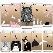 Phone Case For Apple iphone 4 4s 5 5s SE 5C 6 6s 6 plus Cute Owl Rabbit Cat Soft Sillicon Transparent TPU Cellphone Back Cover
