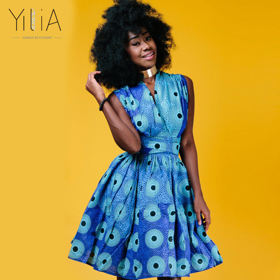 Yilia Infinity Vestidos Summer 2018 New Women Dress Colorful African Print Clothing Sexy Line Fashion Beach Party Dresses