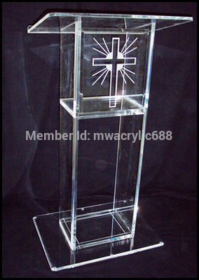 Free Shipping Popularity Beautiful LOGO Modern Design Cheap Clear Acrylic Lectern decoration(China (Mainland))