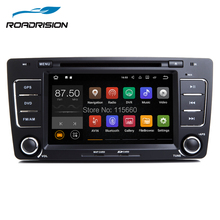 RoadRision 2din Android 7.1.1 Car DVD Player for Skoda Octavia 2012/2013 black with Canbus Green button light GPS Navigation(China)