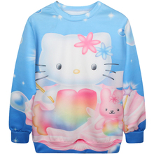Harajuku 3D Print Hello Kitty Mermaid Sweatshirts Women Fashion Long sleeve Cartoon White Cat galaxy Fish Hoodies Tops Pullover