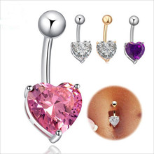 2016 New Fashion Fine Jewelry Zircon Copper Love Heart Belly Button Rings Bar Navel Rings Nail Piercing Sexy Body For Women D-1