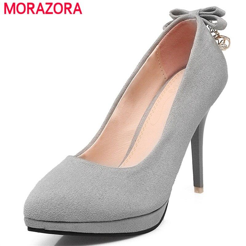 MORAZORA Women shoes pumps fashion elegant thin high heels shoes PU nubuck leather wedding shoes bride shallow big size 34-43<br>