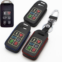 FLYBETTER Car Genuine Leather Bag Remote Control Car Keychain Key Cover Case For Volvo XC60/S60L/V40 6Buttons Smart Key l835(China)