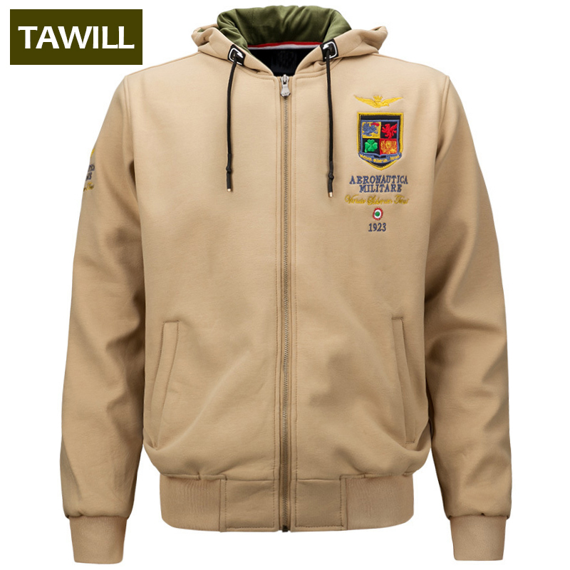 TAWILL 2017 Newv Fall Winter Fleece Men's Hoodies military air force one army Printed Pullover Sweatshirt Men Clothing 1613