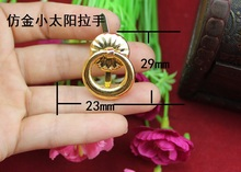 23 * 29MM imitation gold small sun handle iron + gold alloy ring drawer pull handle small wooden handle(China)