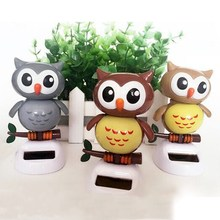 Solar Powered Owl Snowman Dancing Flip Swing Shook Head For Car Decoration Lovely Solar Energy Toys(China)
