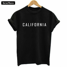 SexeMara 2017 New CALIFORNIA T-Shirt Summer Women T-shirts Black Harajuku Fashion Tshirt Women Kawaii Cool Tops Hipster Tee H936