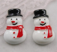 free shipping wholesale 50pcs/lot  snow man resin  flat back cabochon for Diy Deco,16*23mm