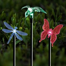 LumiParty Color Changing Solar Stake Light Solar LED Butterfly Dragonfly Hummingbird Stake Mixed Light for Garden Decorations(China)