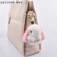 mini fur rabbits girl keychains real mink 8cm bunny keychain fur key chains bags bunnies Trinket pompon fur hare phone penda(China)