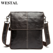 Westal Genuine Leather Men Bags Male Crossbody Bags Small Flap Casual Messenger Bag Men's Shoulder Bag genuine leather Skin 8005(China)