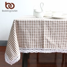 BeddingOutlet Tablecloth Plaid Brown Pink Table Cover Lace Edge Dining Cotton Linen Table Cloth High Quality(China)