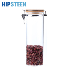 HIPSTEEN 2000ML Food Storage Container Airtight Easy Lock with KKC Metal Buckles and Bamboo Lid