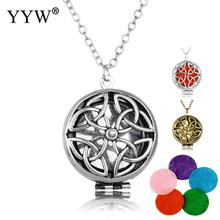 Fahsion Vintage Perfume Locket Necklaces Aromatherapy Essential Oil Diffuser Flower Pendant Necklace Jewelry Perfume Women Gift