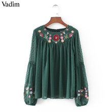 Vadim women floral embroidery chiffon shirts bow tie sleeve O neck vintage pleated blouse ladies casual tops blusas LT2157(China)