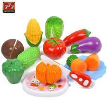 Children Fruit Vegetable Cutting Toy Set for Boys and Girls Kitchen Goods Pretend Play with Lemon Apple Strawberry Carrot D50(China)