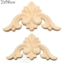 KiWarm Wooden Onlay Applique Rubber Wood Woodcarving Decal Wood Carved Corner Door Furniture Decoration Decorative Sculptures(China)
