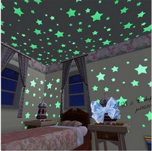 100pcs/lot Home Wall Glow In The Dark Stars Wall Stickers Decor Baby Kid's Nursery Room fairy star wall sticking accessories