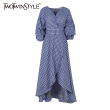 Buy TWOTWINSTYLE Plaid Midi Long Dress Women Ruffle Evening Party Dresses Female Lantern Sleeve Lace Wrap Kimono Clothing Autumn for $23.31 in AliExpress store
