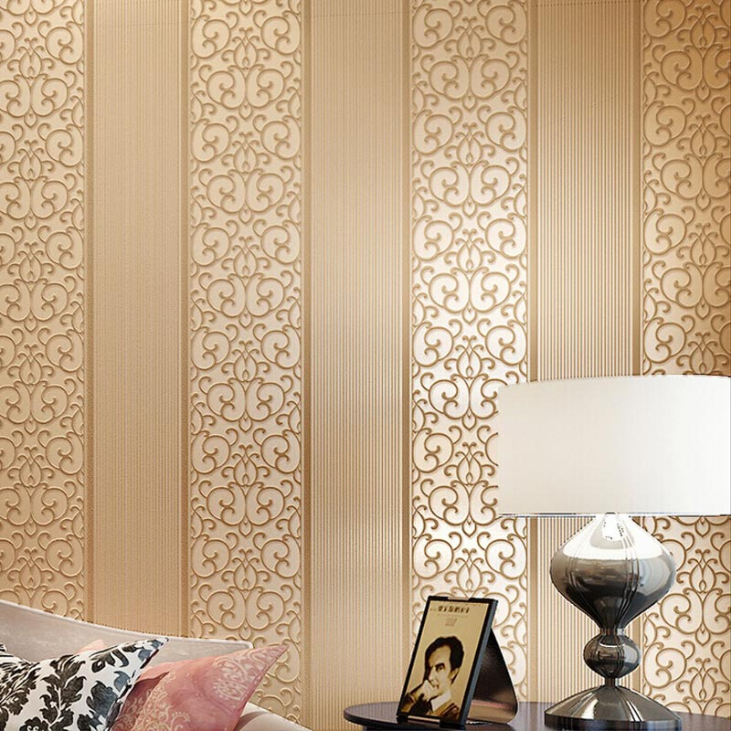 European Simple Bedroom Embossed Wallpaper Warm Thick Vertical Stripes 3D Non-woven Wall Paper Living Room Backdrop Wall Decor<br><br>Aliexpress