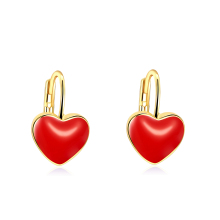 Purple Red Gold Love Heart Earrings Oil Drip Peach Hearts Charms Golden Colour Plating Earrings Women Gift Jewelry
