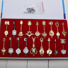 2.4'' 6cm Fairy Tail Keychain 18pcs/set Key Lucy Cos Set Scale Heartfilia sign of the zodiac gold Key(China)