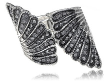 Onyx Dark Rhinestone Joining Angel Wing Shell Studded Glitz Glam Bracelet Bangle [Jewelry]