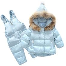 2018 New Boys Skid Brand Winter Children Clothing Set Girls Jacket Coat Overalls Warm Snow Suit Baby Kids Clothes