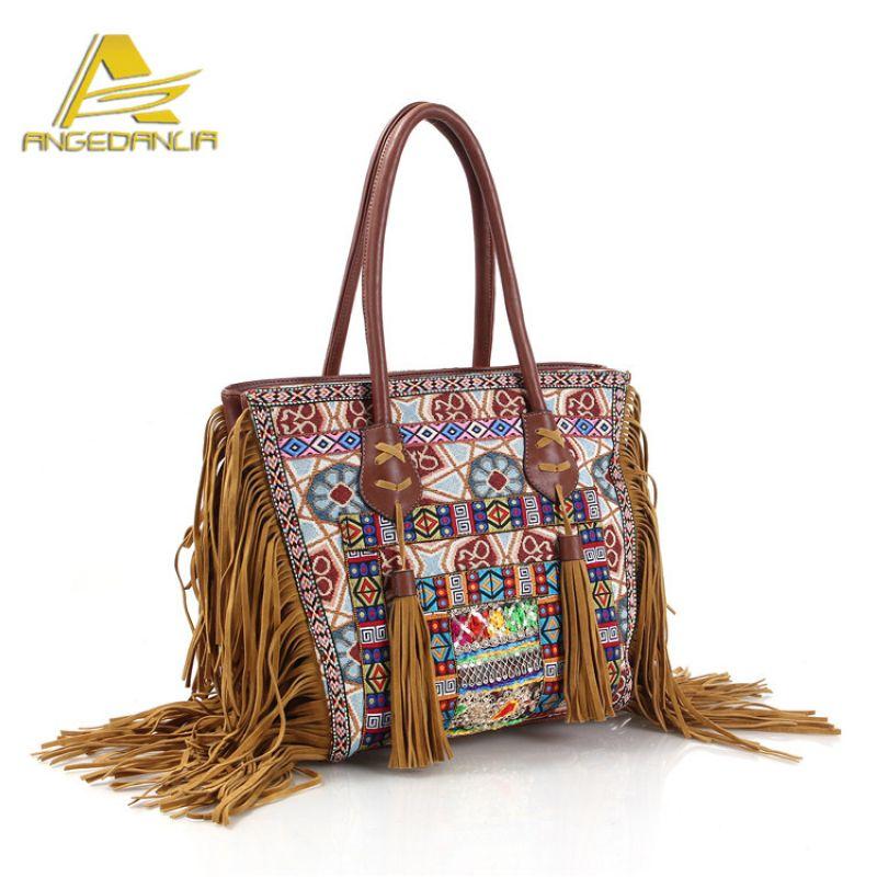 national ethnic style should bag Embroidery Bohemia design Tassel ladys Bohemian fabric handbag trunk large messenger bag<br>
