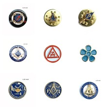 Masonic Forget Me Not Flower Square & Compass Within Circle Brotherly Love Relief Freemasonry Knights Templar INHOC Lapel Pin(China)